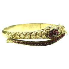 Ornate Victorian Snake Bracelet ~ Bohemian Garnets