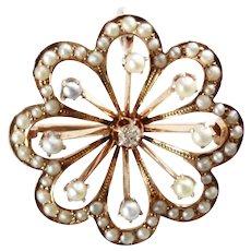Victorian 14K Gold Pendant - Brooch - 56 Seed Pearls - Diamond