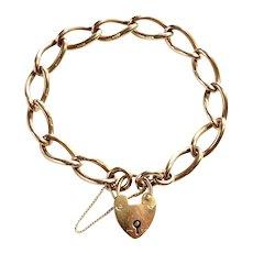 English Solid 9K Heart Padlock Bracelet ~ Charm Bracelet