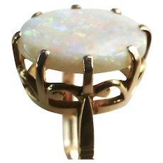 Beautiful 4.25cts. Precious White Opal 14K Tall Ring