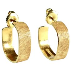 Toni Cavelti 18K YG Textured Hoop Pierced Earrings