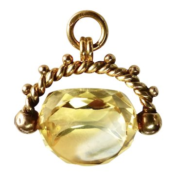 Antique Citrine and 9 Carat Gold Swivel Fob-Pendant