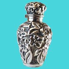 Antique Sterling Silver Scent Bottle ~ Repoussé Forget-Me-Nots
