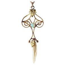 Antique Art Nouveau 14K Gold Opal Natural River Pearl Lavaliere Pendant