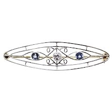 Platinum & 14K  Sapphire & Diamond Edwardian Brooch