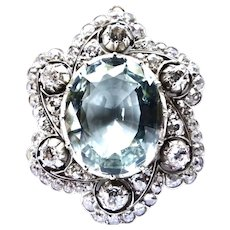 Magnificent Belle Époque Aquamarine & Diamonds Brooch~Pendant