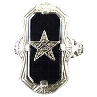 Art Deco Filigree Lady's 14 K White Gold & Black Onyx Order of the Eastern Star Ring