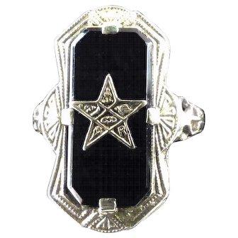 Art Deco Filigree Lady's 14 K White Gold & Black Onyx Order of the Eastern Star Ring