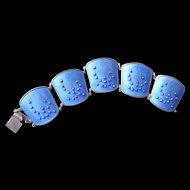 Norway – SS - Mid C. Modern - Blue Enameled – K A Rasmussen Bracelet