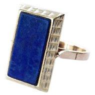Royal Blue Lapis Lazuli 14K Statement Ring