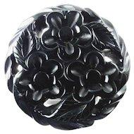 Large Black Bakelite Brooch ~Floral Motif~