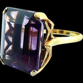 Large Emerald Cut  Amethyst ~ 18K Statement Ring