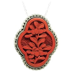 Carved Cinnabar Chinese Red Lacquer Filigree Dress Clip