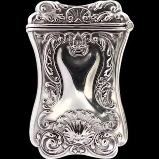 Art Nouveau SS Vesta Case Match Safe Repousse