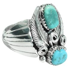 Navajo Sterling & Turquoise Large Ring -Feather Motif