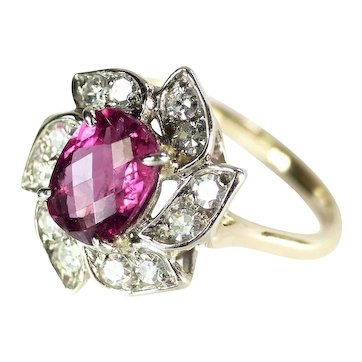 18K Rubellite Tourmaline & Diamond Dress Ring