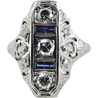 Art Deco 14K White Gold Filigree Ring ~ 3 Diamonds ~ 2 Sapphires