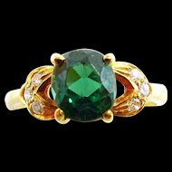 14K Yellow Gold Bluish Green Tourmaline Ring with Diamonds