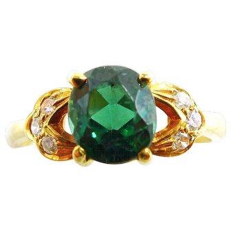 14K Yellow Gold Bluish Green Tourmaline Ring with Diamonds