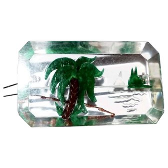Transparent Lucite Reverse Carved & Painted Palm Tree with Ocean Scene
