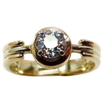 Modern VVS .60 ct. Diamond Yellow & White Gold Ring