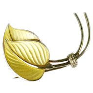 Light Yellow Guilloche Enamel – Norway - 2 Leaves Brooch