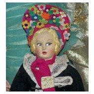 "All Original Tagged Mardis Felt Boudoir Doll 1920/1930, 14"""