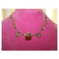 Czech Brass Carnelian Necklace with Simulated Pearls