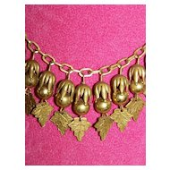 Rare Art Nouveau Brass Leaf Necklace