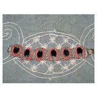 Mid-Century Costume Bracelet Openwork Black and Orange Stones