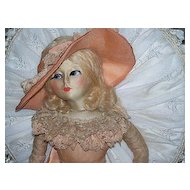 Blossom Boudoir Doll Peach Ruffled Organdy 30""