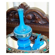 Vintage Blue Satin Glass Perfume Decanter Handpainted Flowers