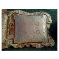 Satin Peach Embroidered Boudoir Pillows