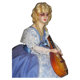 Deco French Wax Half Doll With Mandolin Tagged