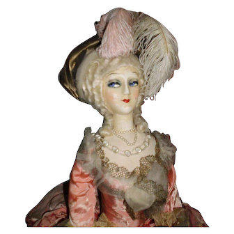 "40"" Fashion French Boudoir Doll, RARE 1920 Marie Antoinette"