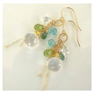 Coquette - Micro Faceted, Sparkly Rock Crystal, Indocite, Peridot, Apatite, 14K Gold Filled And Vermeil Earrings