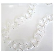 Just Little Circles - 36 Inch Long, Simple and Dainty Sterling Silver Chain Necklace - All Lengths Available
