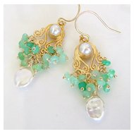Neoclassicism - Faceted Chrysoprase Rondelles, Keishi Pearls, Highly Detailed Gold Vermeil Earrings