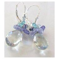Moonlight Sonata - 8 Carats Prasiolite, Tanzanite, Iolite, Apatite, Aquamarine - Sterling Silver Drop Earrings