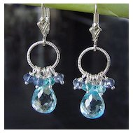 Teardrops From Heaven - 10 Carats AAA Faceted Blue Topaz, Iolite, Apatite, Sterling Silver Earrings