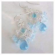 Singing In The Rain - Swiss Blue Topaz, Apatite, Aquamarine, Sterling Silver Chandelier Earrings