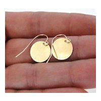 Circle Drop Earrings, Gold Shiny Coin Disc 14K SOLID Yellow or White GOLD - Tiny Baubles - Simple, Small