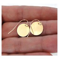 Circle Drop Earrings, Gold Shiny Disc 14K SOLID GOLD - Tiny Baubles - Simple, Small