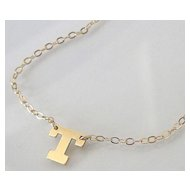 Dainty Initial Necklace - 14K SOLID GOLD Ultra Feminine Initial Monogram Necklace
