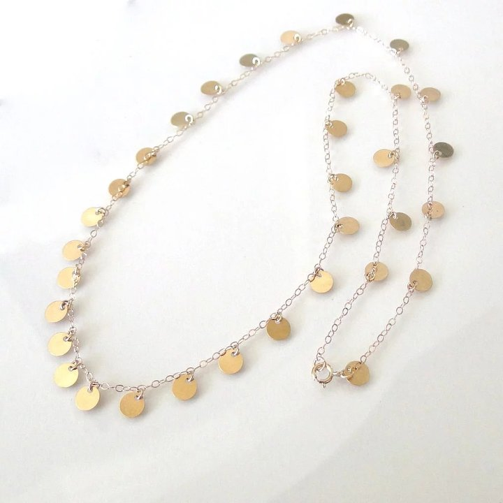 b3eea921acdab4 14k Solid Yellow Gold Tiny Disc Necklace Also Available In White