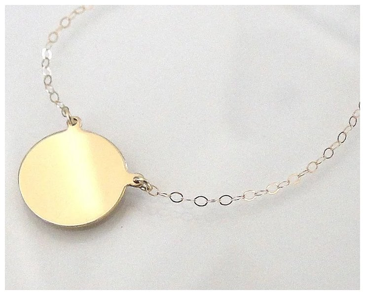 14K Gold Disc Necklace Yellow Gold or White Gold Can Be Engraved