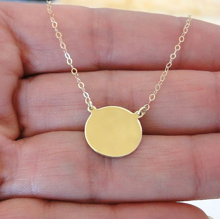7b82b9426b 14K Gold Disc Necklace - Yellow Gold or White Gold - Can Be Engraved ...