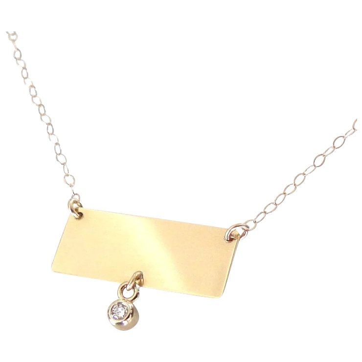 14k gold nameplate necklace rectangle with diamond drop yellow or 14k gold nameplate necklace rectangle with diamond drop yellow or white gold aloadofball Images