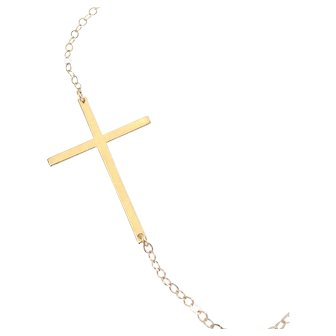 14K Solid Gold Sideways Cross Necklace - Thin And Sleek, Kelly Ripa Style