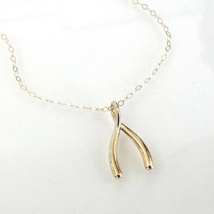 14k gold wishbone necklace as seen on jennifer anniston make a 14k gold wishbone necklace as seen on jennifer anniston make a wish yellow aloadofball Image collections